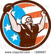 Vector Clip Art of Retro American Football Player Scoring a Touchdown in an American Circle by Patrimonio
