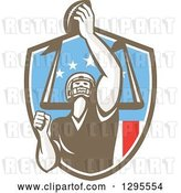 Vector Clip Art of Retro American Football Player Scoring a Touchdown in an American Shield by Patrimonio