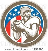 Vector Clip Art of Retro American Football Player Throwing in a Flag Circle by Patrimonio