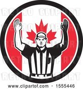 Vector Clip Art of Retro American Football Referee Gesturing Touchdown in a Canadian Flag Circle by Patrimonio