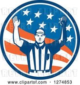 Vector Clip Art of Retro American Football Referee Gesturing Touchdown in a Flag Circle by Patrimonio