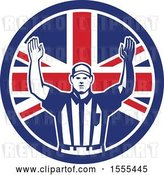 Vector Clip Art of Retro American Football Referee Gesturing Touchdown in a Union Jack Flag Circle by Patrimonio