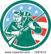 Vector Clip Art of Retro American Frontiersman, Daniel Boone, Holding a Rifle in a Green and American Circle by Patrimonio