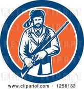 Vector Clip Art of Retro American Frontiersman, Davy Crockett, Holding a Rifle in a Blue White and Orange Circle by Patrimonio