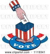 Vector Clip Art of Retro American Hand Inserting a Voters Ballot into a Box by Patrimonio