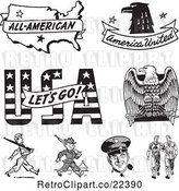 Vector Clip Art of Retro American Icons and Military Soliders by BestVector