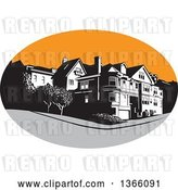 Vector Clip Art of Retro American Mansion House in a Gray and Orange Oval by Patrimonio