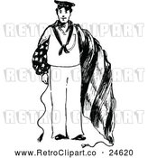 Vector Clip Art of Retro American Navy Man by Prawny Vintage