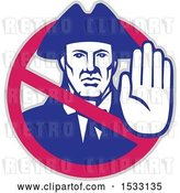 Vector Clip Art of Retro American Patriot Gesturing Stop Inside a Prohibited Symbol by Patrimonio