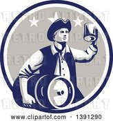 Vector Clip Art of Retro American Patriot Guy Carrying a Beer Keg and Holding up a Mug in a Blue White and Taupe Circle by Patrimonio