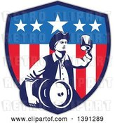 Vector Clip Art of Retro American Patriot Guy Carrying a Beer Keg and Holding up a Mug in an American Shield by Patrimonio
