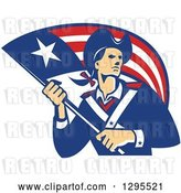 Vector Clip Art of Retro American Patriot Minuteman Revolutionary Soldier Holding a Flag Banner by Patrimonio