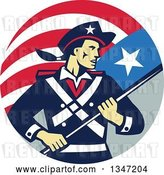 Vector Clip Art of Retro American Patriot Minuteman Revolutionary Soldier Holding a Flag Banner in a Circle by Patrimonio