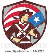 Vector Clip Art of Retro American Patriot Minuteman Revolutionary Soldier Holding a Flag Banner in a Shield by Patrimonio