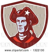 Vector Clip Art of Retro American Patriot Minuteman Revolutionary Soldier in a Maroon White and Tan Shield by Patrimonio