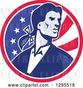 Vector Clip Art of Retro American Patriot Minuteman Revolutionary Soldier in an American Circle by Patrimonio