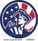 Vector Clip Art of Retro American Patriot Minuteman Revolutionary Soldier in an American Flag Circle by Patrimonio