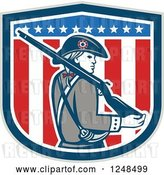 Vector Clip Art of Retro American Patriot Minuteman with a Rifle over a Shield by Patrimonio