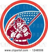 August 14th, 2018: Vector Clip Art of Retro American Patriot Soldier and Flag in a Circle by Patrimonio