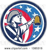 Vector Clip Art of Retro American Patriot Soldier Toasting with a Beer in an American Circle by Patrimonio