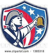 Vector Clip Art of Retro American Patriot Soldier Toasting with a Beer in an American Shield by Patrimonio