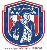 Vector Clip Art of Retro American Patriot Soldier with a Bayonet in a Shield by Patrimonio