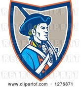 Vector Clip Art of Retro American Patriot Soldier with a Musket in an Orange Blue White and Taupe Shield by Patrimonio