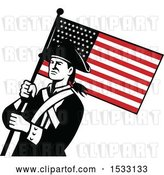 Vector Clip Art of Retro American Patriot Soldier with a Star Spangled Banner by Patrimonio
