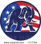 Vector Clip Art of Retro American Republican Political Party Elephant over an American Circle 1 by Patrimonio