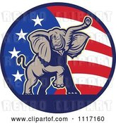 Vector Clip Art of Retro American Republican Political Party Elephant over an American Circle 2 by Patrimonio