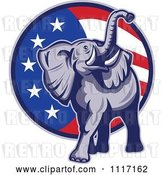 Vector Clip Art of Retro American Republican Political Party Elephant over an American Circle 3 by Patrimonio