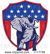 Vector Clip Art of Retro American Republican Political Party Elephant over an American Shield 2 by Patrimonio
