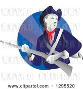 Vector Clip Art of Retro American Revolution Minuteman Soldier with a Musket Rifle in a Blue Star Circle by Patrimonio