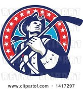 Vector Clip Art of Retro American Revolutionary Patriot Soldier Holding a Hockey Stick in a Circle by Patrimonio
