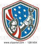 Vector Clip Art of Retro American Revolutionary Patriot Soldier Mechanic Holding a Spanner Wrench in a Patriotic Shield by Patrimonio