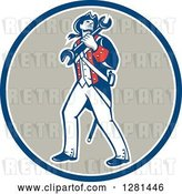 Vector Clip Art of Retro American Revolutionary Patriot Soldier Mechanic Walking with a Spanner Wrench in a Blue White and Taupe Circle by Patrimonio