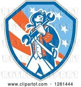 Vector Clip Art of Retro American Revolutionary Patriot Soldier Mechanic Walking with a Spanner Wrench in a Patriotic Shield by Patrimonio