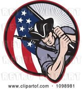 Vector Clip Art of Retro American Revolutionary Soldier Patriot Minuteman Carrying a Flag by Patrimonio