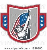 Vector Clip Art of Retro American Revolutionary Soldier Patriot Minuteman Carrying a Flag in a Shield by Patrimonio