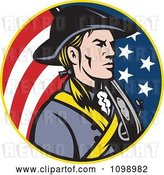 Vector Clip Art of Retro American Revolutionary Soldier Patriot Minuteman in a Circle of Stars and Stripes by Patrimonio