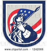 Vector Clip Art of Retro American Revolutionary Soldier Patriot Minuteman with a Flag in a Crest by Patrimonio