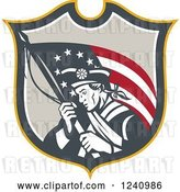 Vector Clip Art of Retro American Revolutionary Soldier Patriot Minuteman with a Flag in a Shield by Patrimonio