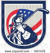 Vector Clip Art of Retro American Revolutionary Soldier Patriot Minuteman with a Hockey Stick Flag in a Crest by Patrimonio