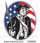Vector Clip Art of Retro American Revolutionary Soldier Patriot Minuteman with a Musket Bayonet Rifle over a Stars and Stripes Flag Oval by Patrimonio
