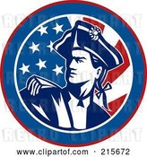 Vector Clip Art of Retro American Revolutionary War Soldier over a Flag Circle by Patrimonio