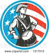 Vector Clip Art of Retro American Revolutionary War Soldier Patriot Minuteman Drummer in a Circle of Stars and Stripes by Patrimonio