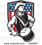 Vector Clip Art of Retro American Revolutionary War Soldier Patriot Minuteman Drummer with a Shield of Stars and Stripes by Patrimonio