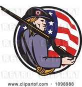 Vector Clip Art of Retro American Revolutionary War Soldier Patriot Minuteman with a Rifle in a Circle of Stars and Stripes by Patrimonio