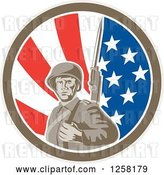 Vector Clip Art of Retro American Soldier with a Bayonet in an American Flag Circle by Patrimonio