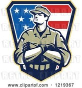 Vector Clip Art of Retro American Solider with Folded Arms over an American Flag Shield by Patrimonio